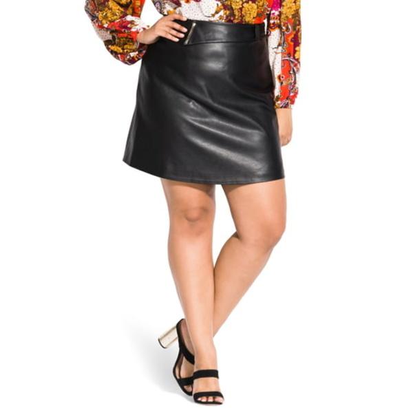 シティーシック レディース スカート ボトムス Mad Love Faux Leather Skirt Black