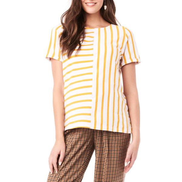 ロイヤル ハナ レディース シャツ トップス Ginger Stripe Maternity/Nursing Shirt White And Yellow Stripes