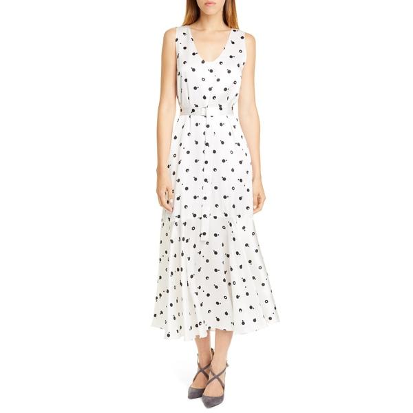 ロゼッタ・ゲッティ レディース ワンピース トップス Bauhaus Dot Print Silk Charmeuse Midi Dress Black/ White