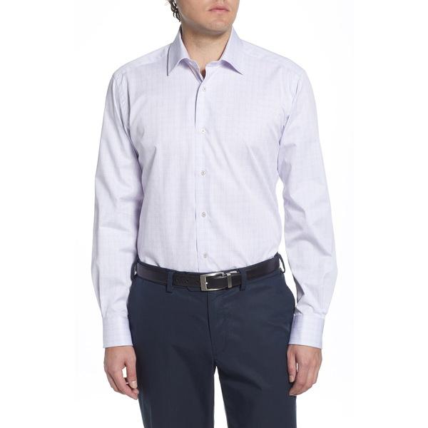 デイビッドドナヒュー メンズ シャツ トップス Regular Fit Plaid Dress Shirt Berry