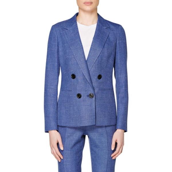 スイスタジオ レディース ジャケット&ブルゾン アウター Joss Double Breasted Wool Blend Suit Jacket Blue