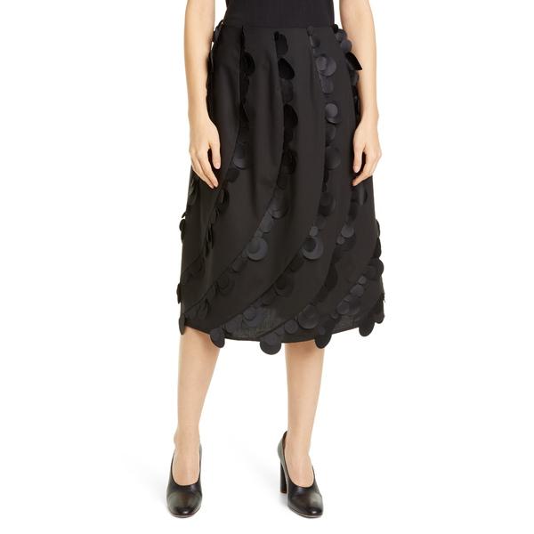 パスカル レディース スカート ボトムス Laser Cut Dot Stretch Cotton Midi Skirt Black