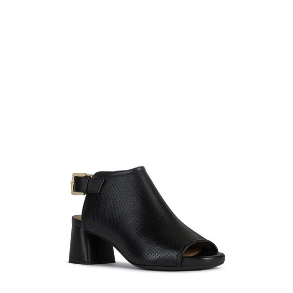 ジェオックス レディース サンダル シューズ Genziana Mid Block Heel Sandal Black Leather