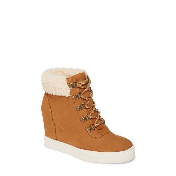 ケネスコール レディース スニーカー シューズ Kam Faux Fur High Top Sneaker Tan Leather