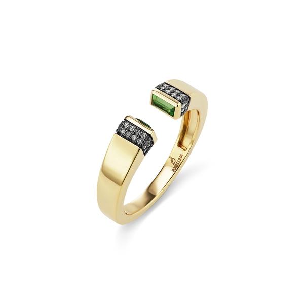 ソレリーナ レディース リング アクセサリー Pietra Semiprecious Stone & Diamond PavOpen Ring Yellow Gold/ Tsavorite