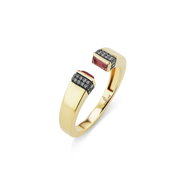 ソレリーナ レディース リング アクセサリー Pietra Semiprecious Stone & Diamond PavOpen Ring Yellow Gold/ Pink Sapphire
