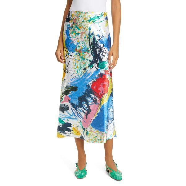 シエス・マルジャン レディース スカート ボトムス Paint Print Satin Midi Skirt Multi Print