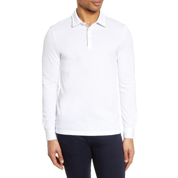 ボス メンズ シャツ トップス Paver Cotton Long Sleeve Polo Shirt White