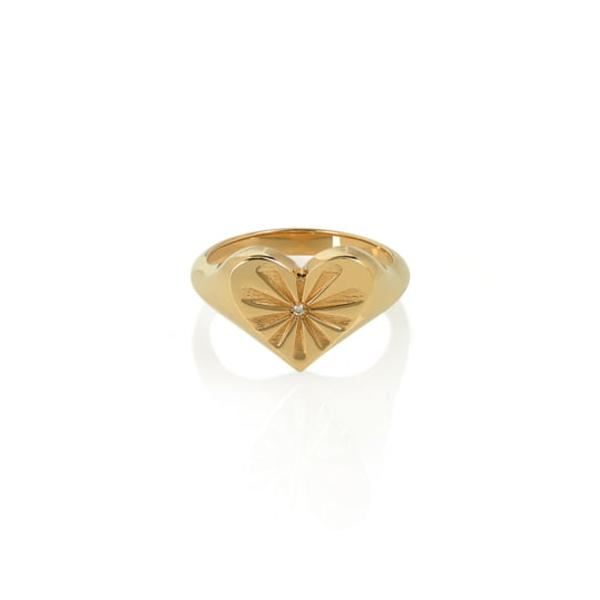 マーロラズ レディース リング アクセサリー Heart Pinky Ring Yellow Gold