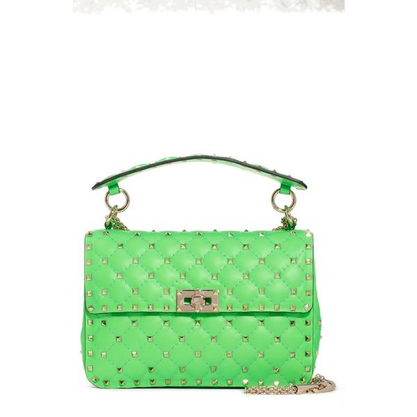 ヴァレンティノ ガラヴァーニ レディース ショルダーバッグ バッグ Medium Rockstud Spike Leather Shoulder Bag Green Fluo