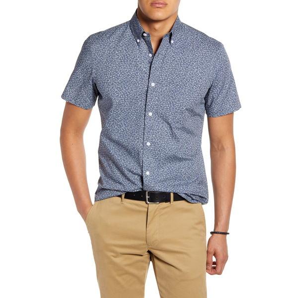 ワンナインオーワン メンズ シャツ トップス Slim Fit Leaf Print Short Sleeve Button-Down Shirt Grey Janpanese Bamboo