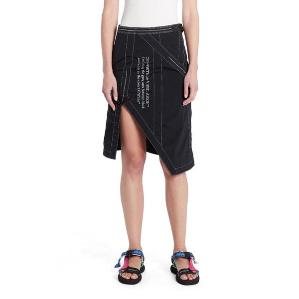 オフホワイト レディース スカート ボトムス Logo Asymmetrical Parachute Skirt Black White