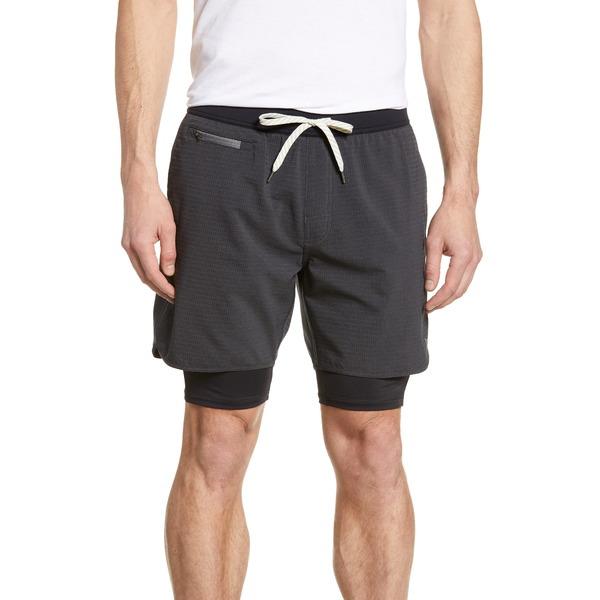 ビュオーリ メンズ カジュアルパンツ ボトムス Stockton Layered Compression Performance Shorts Black Linen Texture