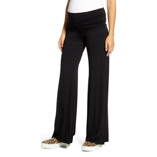 マターナルアメリカ レディース カジュアルパンツ ボトムス Flare Leg Knit Maternity Pants Black