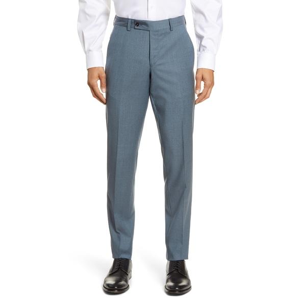 テッドベーカー メンズ カジュアルパンツ ボトムス Jerome Flat Front Solid Wool Dress Pants Teal