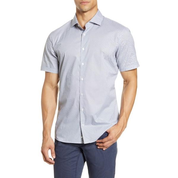 ブラックス メンズ シャツ トップス Kelly Modern Fit Short Sleeve Button-Up Shirt Grey