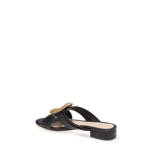 セセリアニューヨーク レディース サンダル シューズ Paradise Embellished Slide Sandal Black LeatherUVSpzGqM