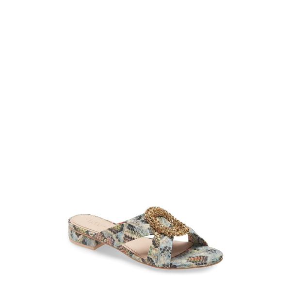 セセリアニューヨーク レディース サンダル シューズ Paradise Embellished Slide Sandal Snake Print Leather