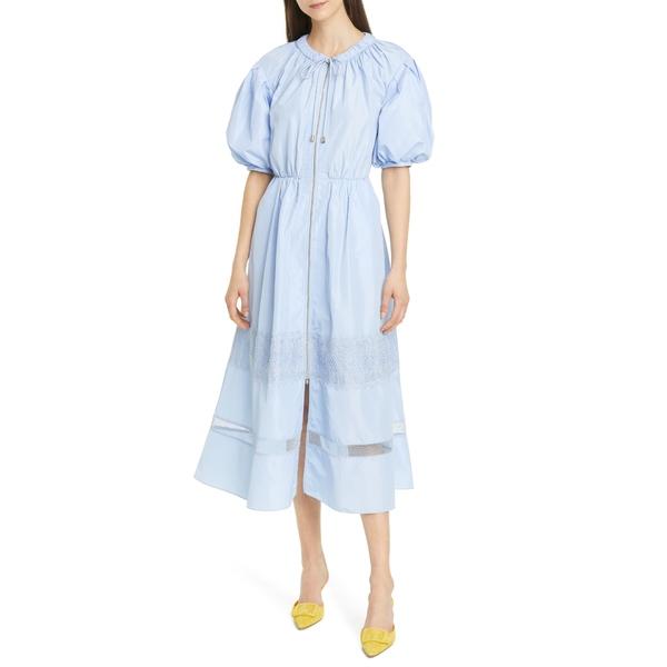 セルフ・ポートレイト レディース ワンピース トップス Puff Sleeve Zip Midi Dress Light Blue