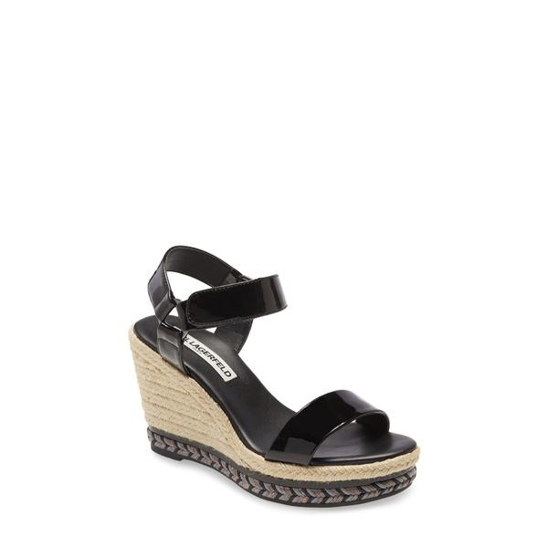 カールラガーフェルド レディース サンダル シューズ Cascada Espadrille Wedge Sandal Black Leather