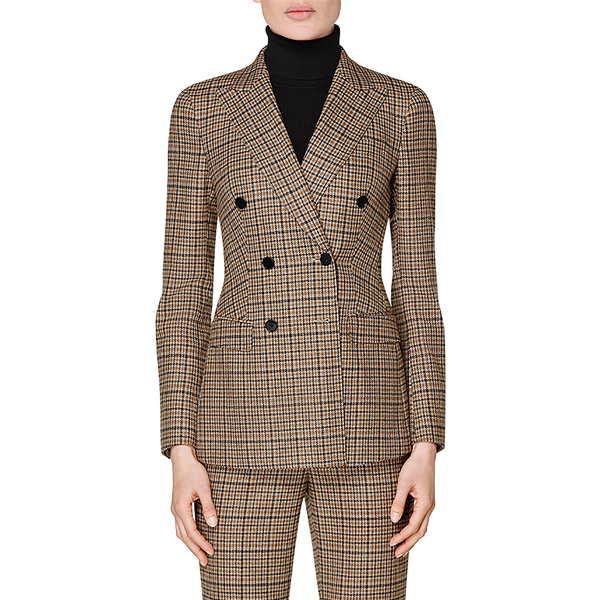 スイスタジオ レディース ジャケット&ブルゾン アウター Cameron Double Breasted Plaid Wool & Cashmere Suit Jacket Brown Houndstooth