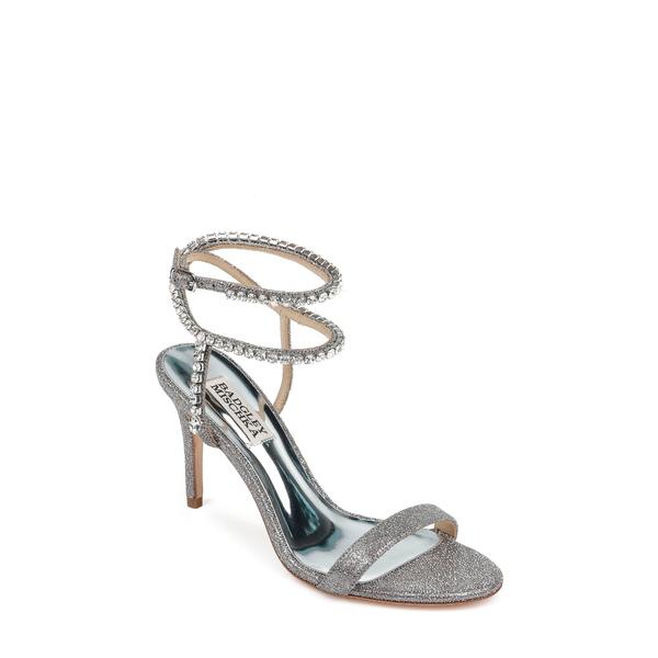 バッドグレイミッシカ レディース サンダル シューズ Badgley Mischka Claudette Crystal Embellished Sandal Pewter Glitter