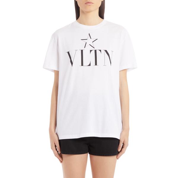 ヴァレンティノ レディース Tシャツ トップス VLTN Star Cotton Tee Bianco/ Nero