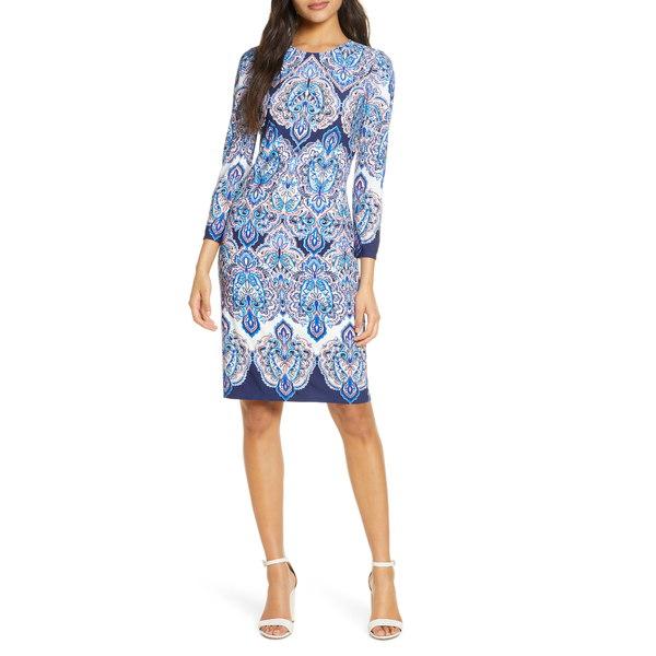 エリザジェイ レディース ワンピース トップス Paisley Print Long Sleeve Dress Blue