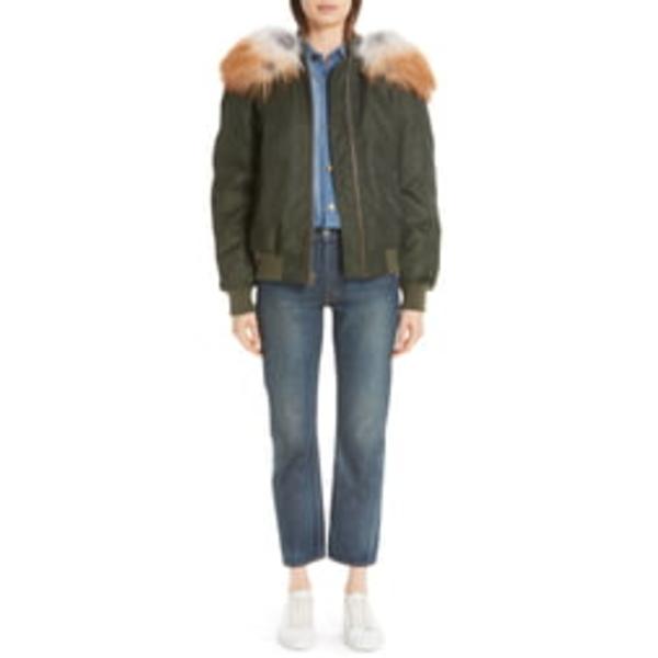 ミスター&ミセス・イタリー レディース ジャケット&ブルゾン アウター Removable Genuine Fox Fur Hood Bomber Jacket London Green