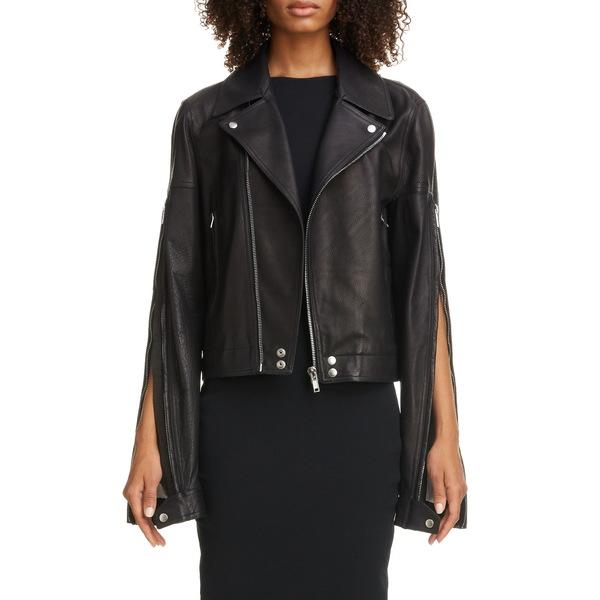 リックオウエンス レディース ジャケット&ブルゾン アウター Zip Sleeve Leather Moto Jacket 09 Black
