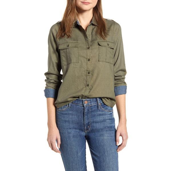 ラッキーブランド レディース シャツ トップス Laura Cotton Twill Utility Shirt Burnt Oliv