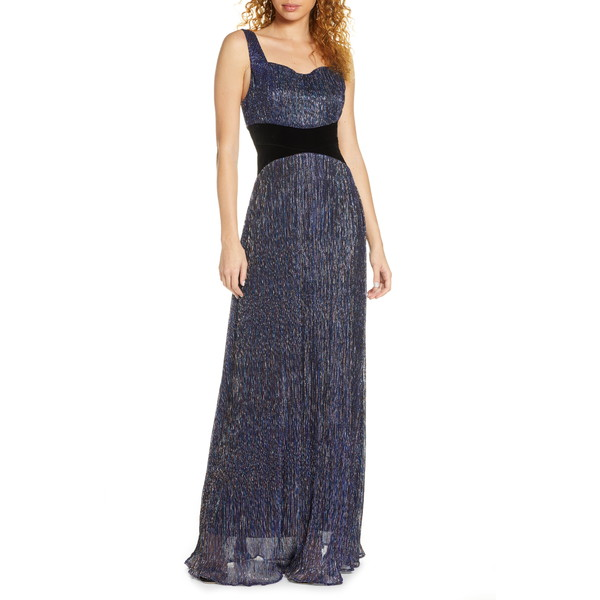 フォキシィドックス レディース ワンピース トップス Amara Metallic A-Line Gown Charcoal Multi