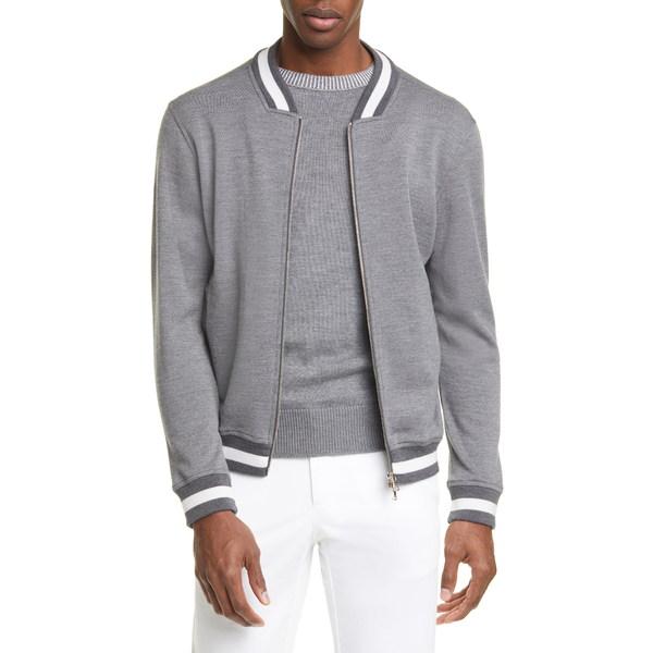 エイドス メンズ ジャケット&ブルゾン アウター Trim Fit Heathered Wool Baseball Jacket Grey