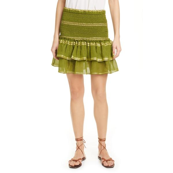 ドラン レディース スカート ボトムス Eleanor Smocked Metallic Stripe Silk Blend Tiered Miniskirt Spring Olive