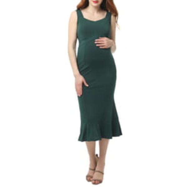 キミアンドカイ レディース ワンピース トップス Kora Maternity Mermaid Midi Dress Forrest Green