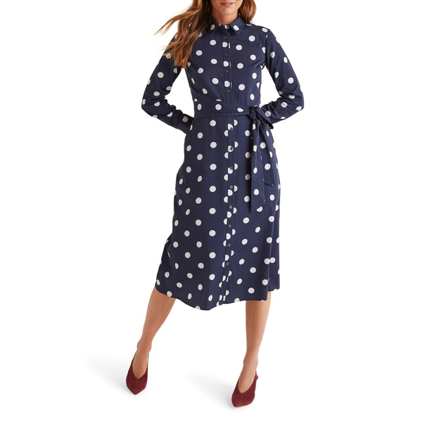 ボーデン レディース ワンピース トップス Isodora Print Long Sleeve Cotton Shirtdress Navy Graphic Spot