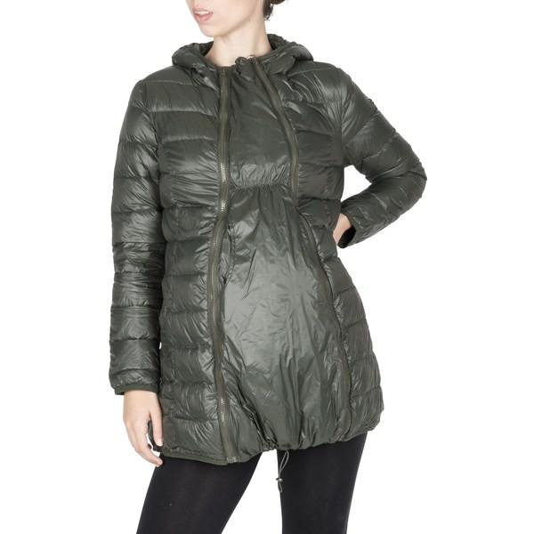 モダーンエターニティ レディース ジャケット&ブルゾン アウター Lightweight Down 3-in-1 Maternity/Nursing Jacket Khaki Green