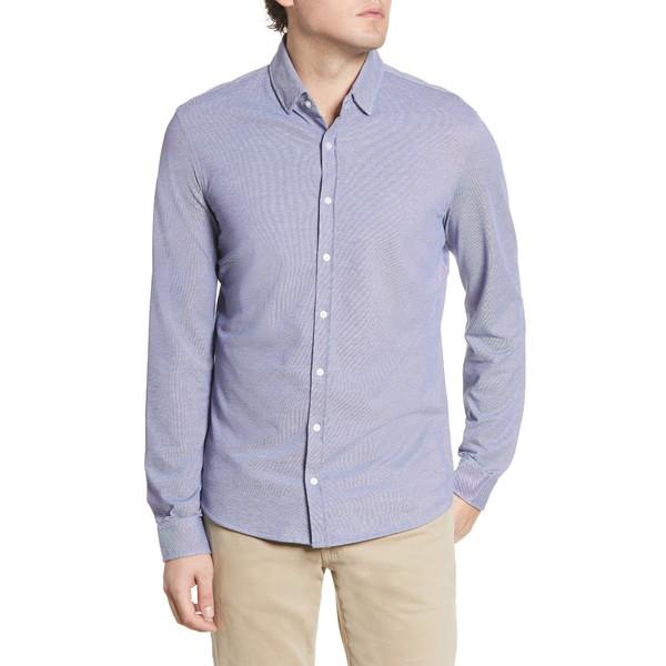 ブラックス メンズ シャツ トップス David Modern Fit Hi Flex Jersey Button-Up Shirt Navy