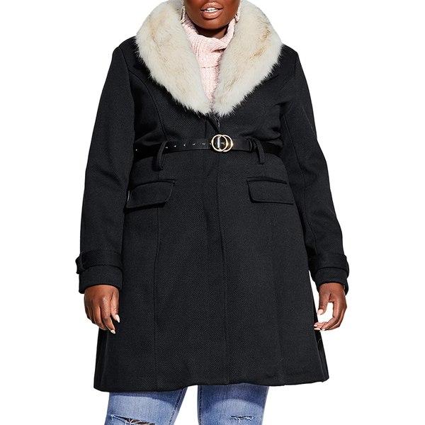 シティーシック レディース ジャケット&ブルゾン アウター Belted Jacket with Faux Fur Collar Black