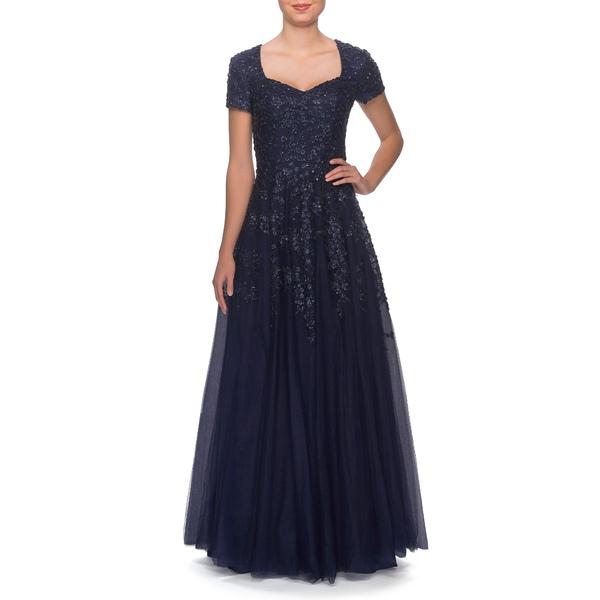 ラフェム レディース ワンピース トップス Embellished Tulle A-Line Gown Navy