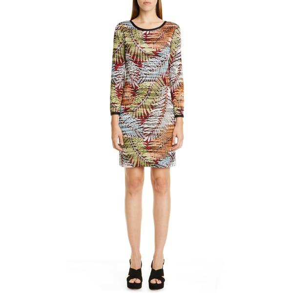 ミッソーニ レディース ワンピース トップス Palm Leaf Pattern Sweater Dress Black Palm