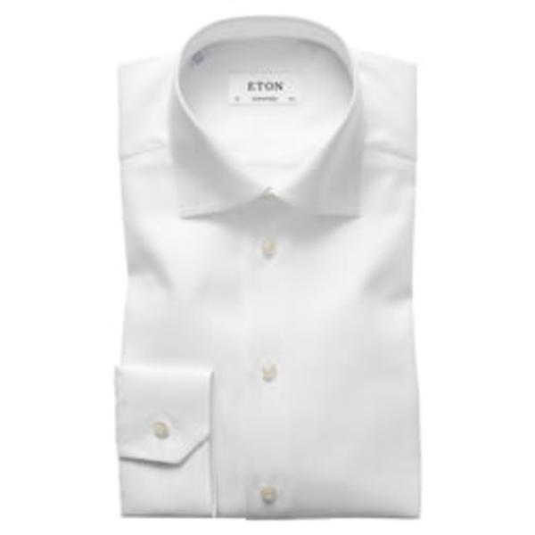 エトン メンズ シャツ トップス Contemporary Fit Cavalry Twill Dress Shirt White