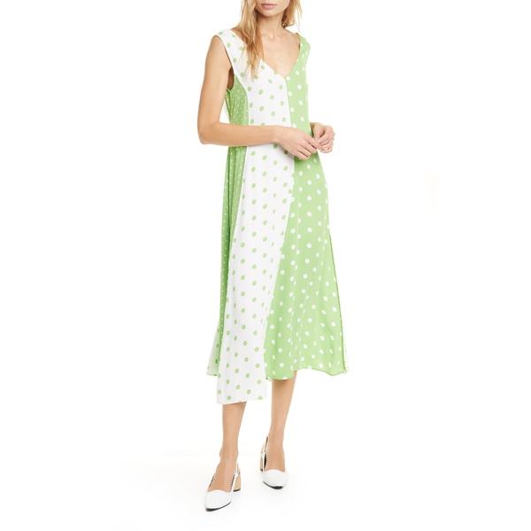 スティーヌ・ゴヤ レディース ワンピース トップス Yara Colorblock Dot Midi Dress Dots Green White
