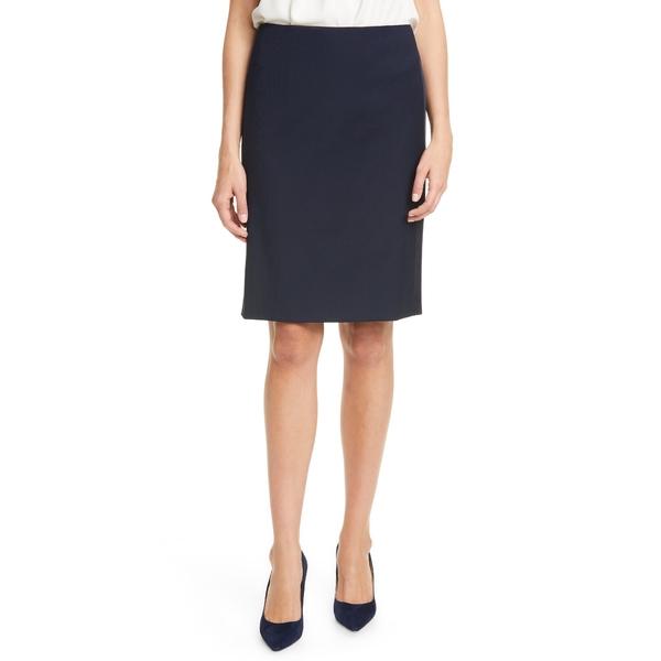 ボス レディース スカート ボトムス Vatiso Tuxedo Stripe Stretch Wool Pencil Skirt Midnight