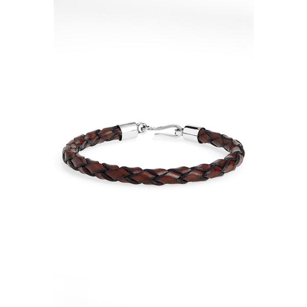カプトアンドコー メンズ ブレスレット・バングル・アンクレット アクセサリー Braided Leather Bracelet Brown