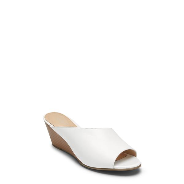 ロックポート レディース サンダル シューズ Taylor Asymmetric Wedge Slide Sandal White Leather
