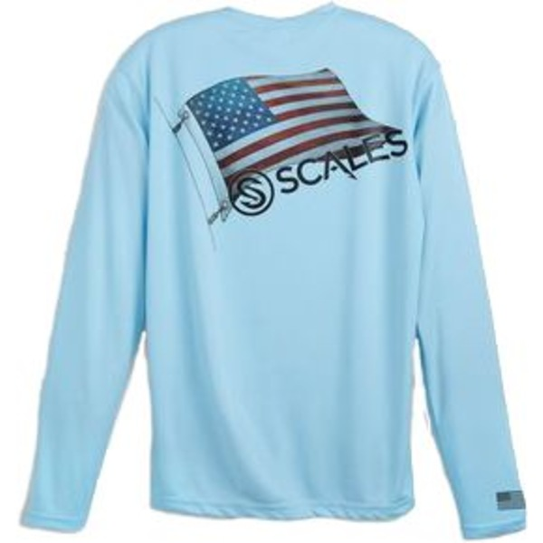 スケールズ メンズ シャツ トップス Scales Gear Men's Raise Flags USA Performance Long Sleeve Shirt LightBlue