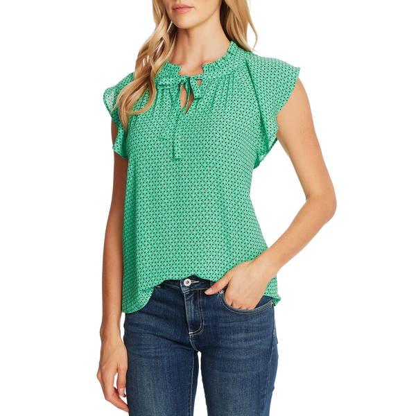 セセ レディース シャツ トップス Geo Print Flutter Sleeve Blouse Jasmine Green