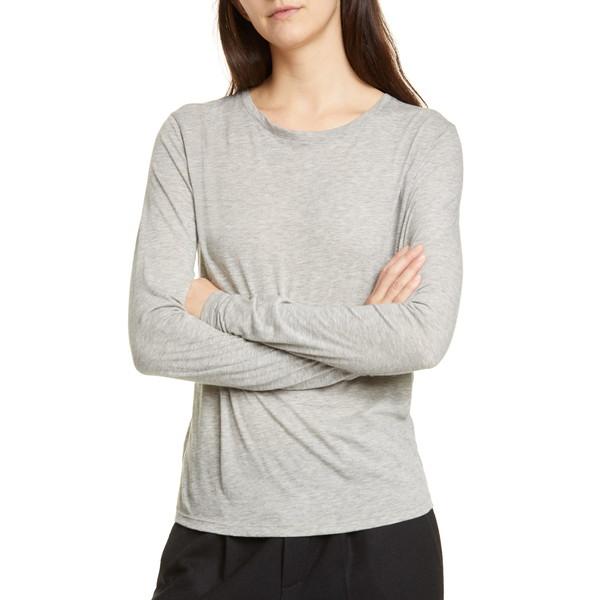 ヴィンス レディース Tシャツ トップス Essential Long Sleeve Crewneck Tee Heather Grey
