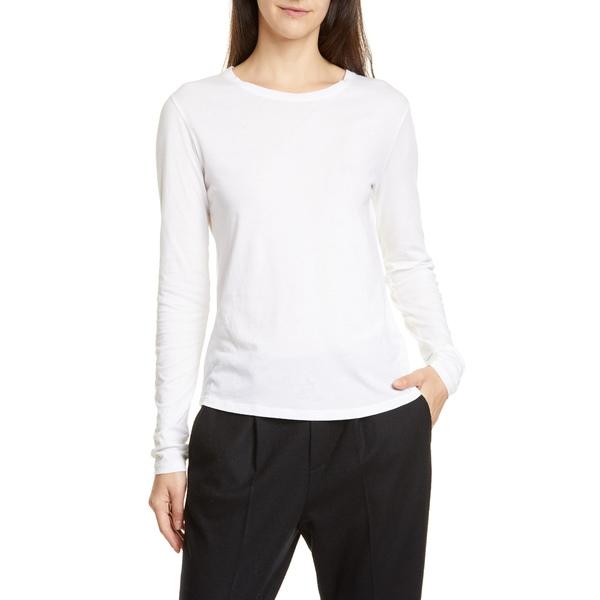 ヴィンス レディース Tシャツ トップス Essential Long Sleeve Crewneck Tee Optic White